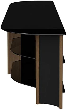 AVF FS1500VARWB-A Varano TV Stand with Glass Shelves for TVs up to 75-Inch Walnut and Black Glass