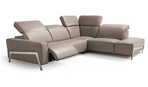J&M Furniture Ocean Italian Leather Right Facing Sectional Sofa in Grey