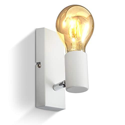 B.K.Licht I Wandlamp I retro lamp voor binnen I metaal I wit I industrieel I wandlampen I netstroom I met 1 lichts I…