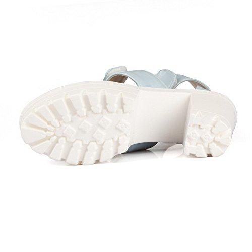 AmoonyFashion Womens High Heels Soft Material Solid Hook And Loop Peep Toe Sandals LightBlue TQUghLlhIA