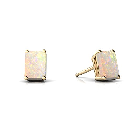 14kt Yellow Gold Opal 6x4mm Emerald_Cut Emerald-Cut Stud Earrings