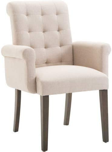 Hooseng, Accent Chair Solid Wood Legs Casual Contemporary Design Featuring gridded tufting, Curved Back and armrests for Effortless Class Beige , Warm