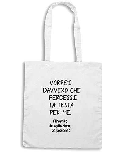 Speed Shirt Borsa Shopper Bianca TDM00295 VORREI DAVVERO PERDESSI LA TESTA