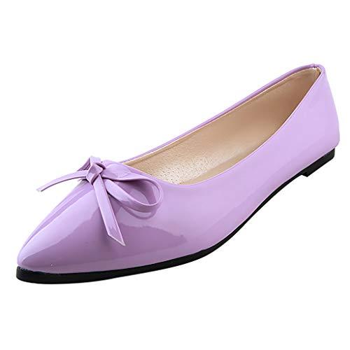 (LYN Star✨ Women's Tali Bow Ballet Flat Comfortable Bow Point Toe Flat Pumps Slip On Shoes Classic Mugara Ballet-Flat Purple)
