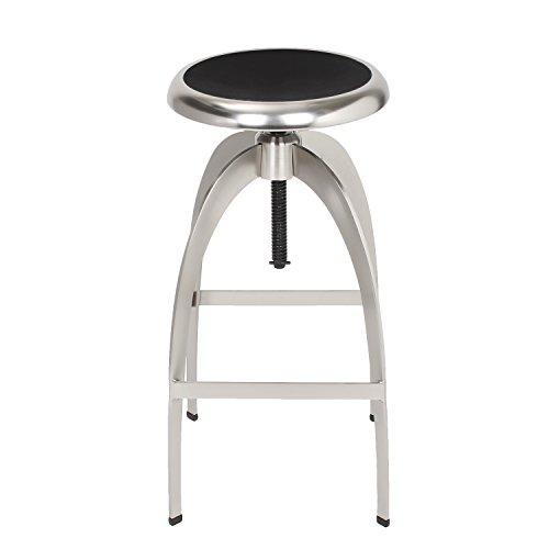 Stool Modern Metallic Bar - ELEGAN Industrial Barstools Metallic Style Stainless Steel Rounded Hard Top Counter Stools Chair (1 pcs)