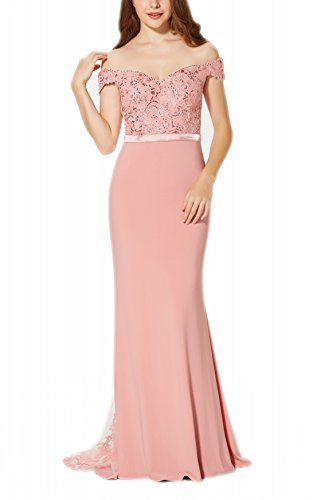 New Vogue Women's Sexy Beaded Lace Jersey 2018 Evening Prom Dress