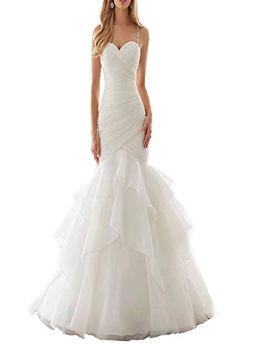Asoiree Women's Lace Mermaid Floral Formal Wedding Sweetheart Dresses Sleeveless Prom Gowns Court-Train White