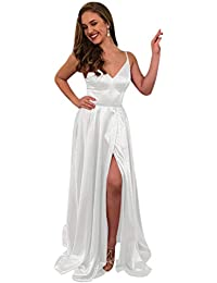 c5efa41291 Women s Simple Spaghetti Straps A Line Long Prom Dresses with Slit