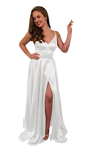 (ElenaDressy Women's Simple Spaghetti Straps A Line Long Prom Dresses with Slit,White 16)