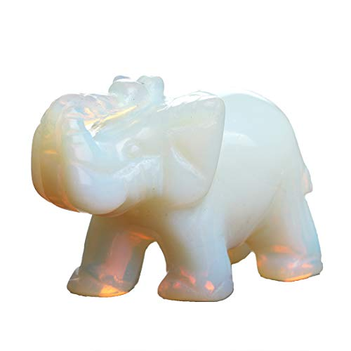 YWG Stone Opal Opalite Elephant 1.5 Inches Statue Crafts Natural Stone Carved Figurine Chakra Carving Stones Healing Reiki Free Pouch (Opal)