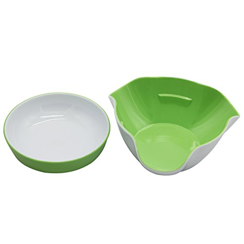 Maggift Green & White Double Dish Snack Bowls for Serving Shelled Nuts,Beans,Candy,Fruits and Salads (Green & White) by Maggift (Image #5)