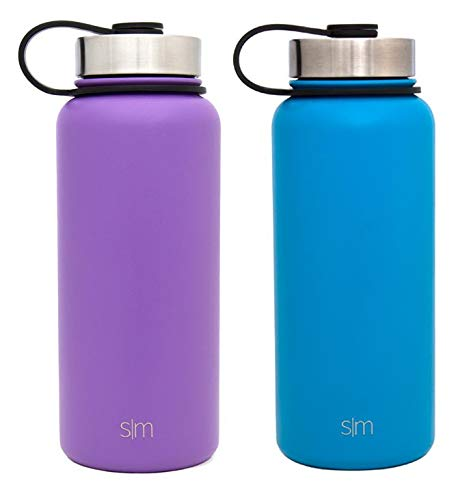 Simple Modern 32oz Summit Water Bottle 2 Pack - Two Vacuum Insulated 18/8 Stainless Steel Wide Mouth Hydro Travel Mugs - Powder Coated Double-Walled Flask - Lilac Purple/Sky Blue