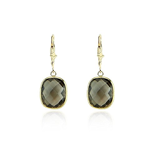 14K Yellow Gold Dangle Earrings With Cushion Cut Smoky Quartz Gemstones by amazinite