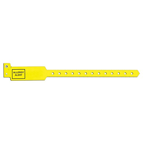 Sentry 5072-14-PDJ Alert Bands, Poly''Allergy Alert'' Pre-Printed, 1'' x 10 1/4'', Adult/Pediatric, Yellow (Pack of 250) by Sentry
