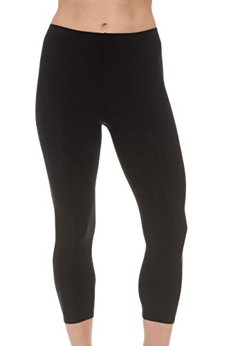 Undercover Waterwear Womens Swim Leggings Athletic Capris- UV Protection Cover Up Swim Tights- Plus Size Too (Large, Black)