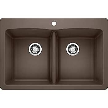 Image of Home Improvements Blanco 440218 Diamond SILGRANIT Double Bowl Drop-in or Undermount Kitchen Sink, Café, 33' L X 22' W X 9.5' D, Cafe Brown