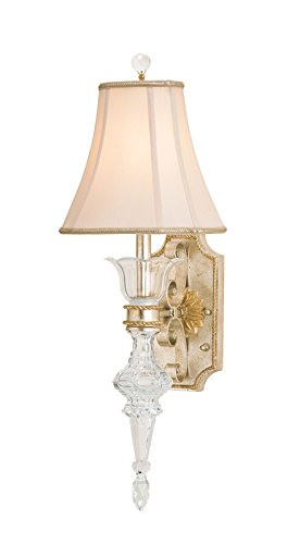 Currey and Company 5415 Maralago 1-Light Wall Sconce, Silver Granello and Gold Finish with Antique White Shantung Shade