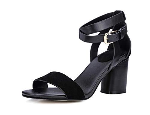 Della Con Spessi Nuovi Scarpe 2018 Alto Aperti Cintura Nero Tacco Sandali Femminili Donna Fibbia pn6F4px