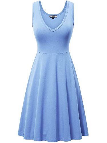 HUHOT Womans Sleeveless Aline V-Neck Party Midi Cocktail Homecoming Flowy Midi Tank Dress Baby Blue XXL (Flowy Spring Dresses For Women)