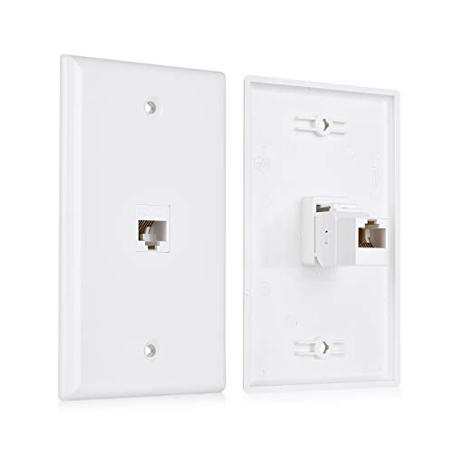 (Cable Matters 2-Pack 1-Port Keystone Jack Wall Plate with Cat6 RJ45 Insert, Cat6 Ethernet Wall Plate in White)