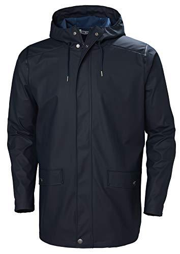Helly Hansen Men's Moss Long Hooded Fully Waterproof Windproof Raincoat Jacket, 597 Navy, Large