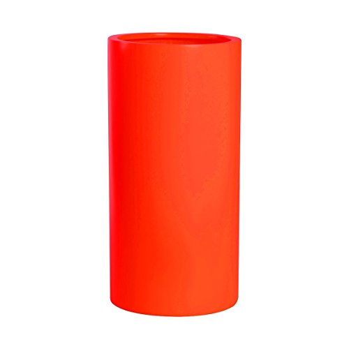 PurePots Tall Cylinder Pot 2330, Modern Large Round Planter - Indoor & Outdoor| Hand Crafted Commercial Grade Fiberglass | UV Resistant Paint (Sunset Orange/ With Drainage Hole(s)/ Medium) by PureModern