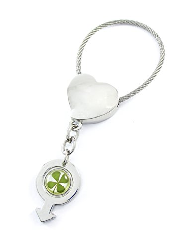 Genuine Four-leaf Lucky Clover Crystal Amber Engravable Key Chain, Male Sign Gender Symbol. (2. Heart of Love)
