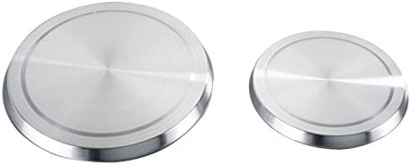 Wenko 2235504100 - Tapas de acero inoxidable para fogones eléctricos (4 unidades, ø 16 x 2 cm, ø 20 x 2 cm)