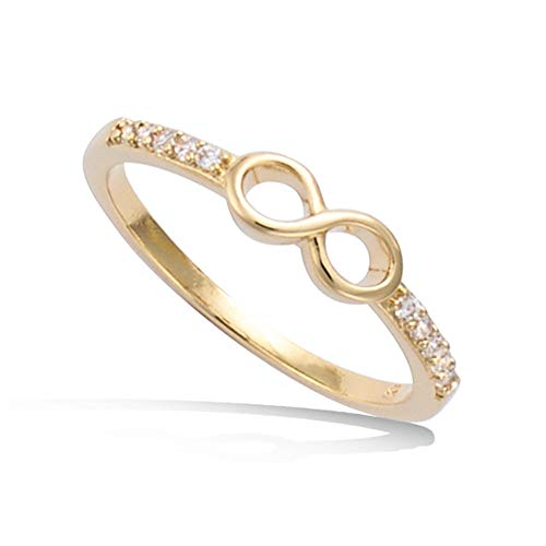Agvana Yellow Gold Filled Cubic Zirconia CZ Infinity Ring for Women Girls Size 8