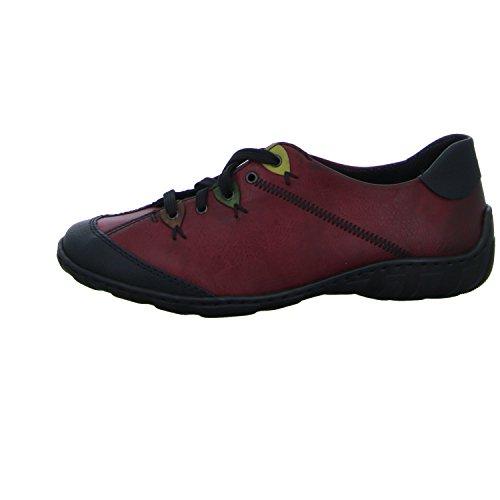 Rieker Damen M3722 Sneaker Rot (schwarz/wine/brandy/leaf/lorbeer)