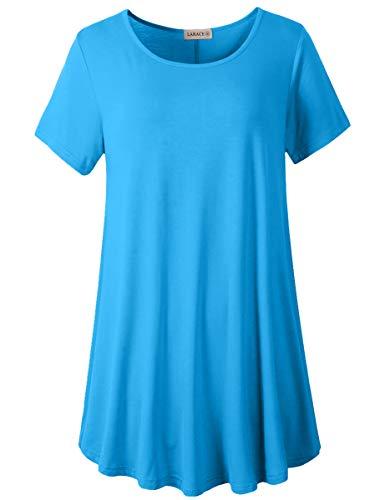 LARACE Women Plus Size Swing Tunic Top Short Sleeves T-Shirt(5X, Deepskyblue)