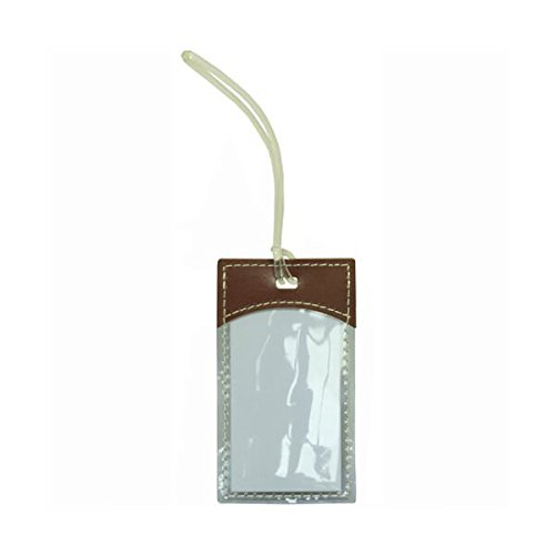 - JAM Paper Plastic Luggage Tags with Leather Trim - Brown - Sold Individually