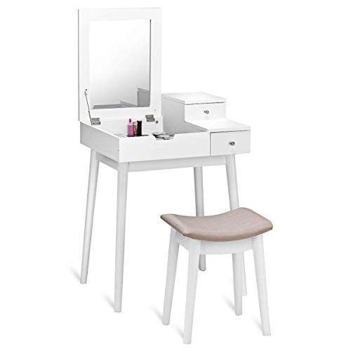 Casart Vanity Table Set with Mirror Stool, Home Folding Flip Mirrored Large Storage Organizer Women Home Bedroom Furniture Wood Cushioned Bench, Girls Makeup Dressing Table Sets w/ 2 ()