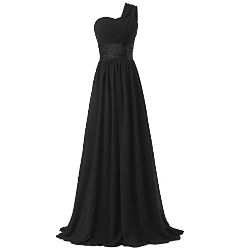 Ouman Women's Chiffon One Shoulder Bridesmaids Dresses Large Black