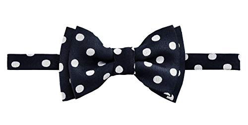 Retreez Classic Polka Dots Woven Microfiber Pre-tied Boy's Bow Tie - Black with White Dots - 24 months - 4 years (Boys Checkered Suspenders)