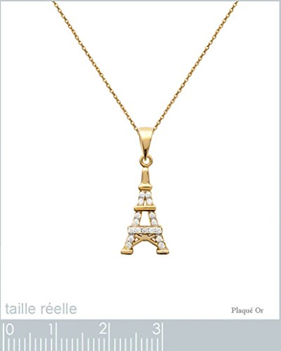 Lot Pendentif Tour Eiffel Plaqué Or 18 carats et Oxydes Zirconium + Chaîne 50cm Plaqué Or