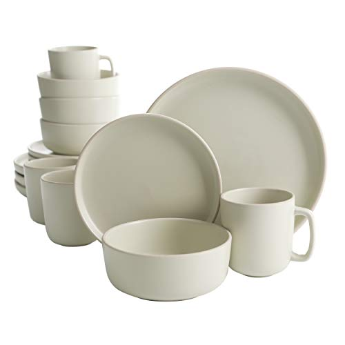 Gibson Home Zuma 16 Piece Round Kitchen Dishes, Plates, Bowls, Mugs Dinnerware Sets, Service for Four (16pcs), Cream…