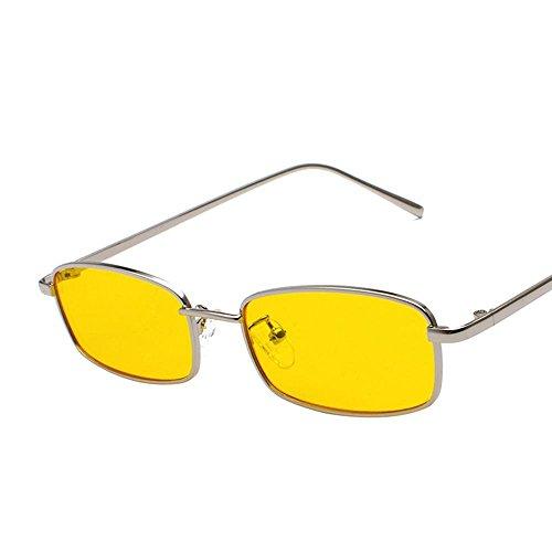 Aoligei Morceau d'océan transparent Lunettes de soleil Fashion petit en carré cadre métal verres rue shoot lunettes de soleil A