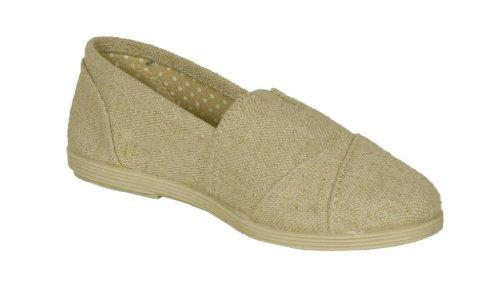 Soda Kid's Girly Object-2S Slip-on Flat Sandals, beige linen, 10 T