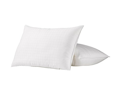Ella Jayne Home Standard Size Bed Pillows- 2 Pack White Hotel Pillows- Gel Fiber Filled FIRM Gel Pillows with Hypoallergenic 100% Cotton Dobby Box Cover- Best Pillow For Side Sleepers (Euro Pillow Top Latex)