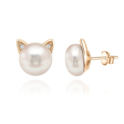 (PAVOI 14K Rose Gold Plated Cat Pearl Earrings)