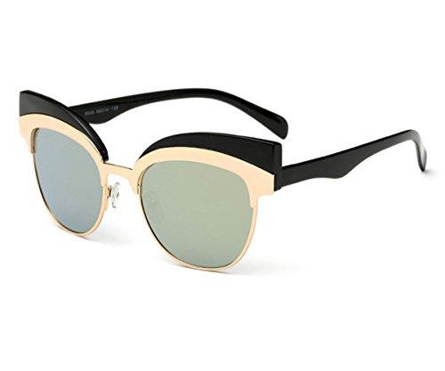 Pink Frame Grey Shaded Lenses (Konalla Vintage Retro Round Circle Half Frame Eyewear Cateye Sunglasses)