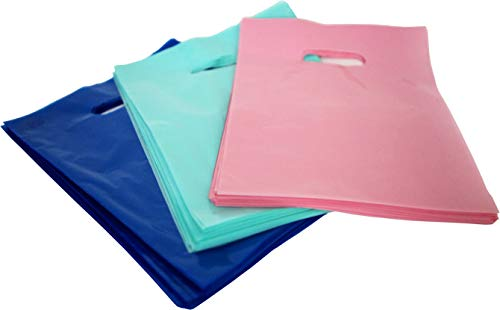 150 9x12 Plastic Merchandise Bags, Retail Shopping Bags with Handle, Gift Bags, Best Colors-Royal Blue, Light Pink and Teal. Small Size. Environmentally Responsible 100% Recyclable. Mr.Lordbag -