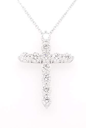 Round Diamond Cross Pendant Necklace, 14K Gold, Adjustable Chain (G-H Color, SI2-I1 Clarity) (White-Gold, 1.00)