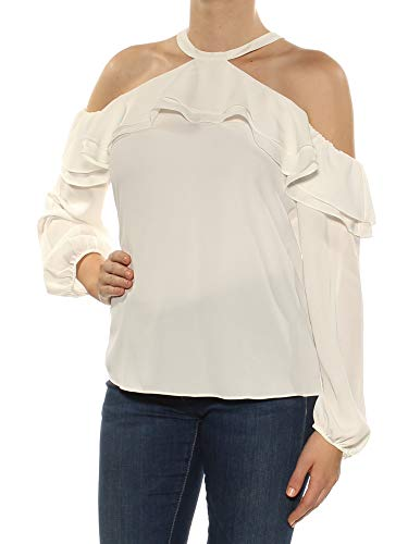 INC International Concepts Ruffled Cold-Shoulder Top (Washed White, M)