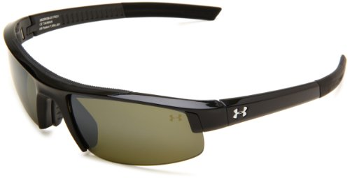 Under Armour Stride S Shiny Black Frame, with Black Rubber, and Game Day Multiflection Lens & Crimson - Under Core Armour Sunglasses Ua