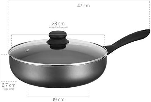 MÄSER Izar 931741 Sauteuse avec couvercle en verre Ø 28 cm Compatible induction Revêtement anti-adhésif Poêle profonde avec couvercle Aluminium Noir