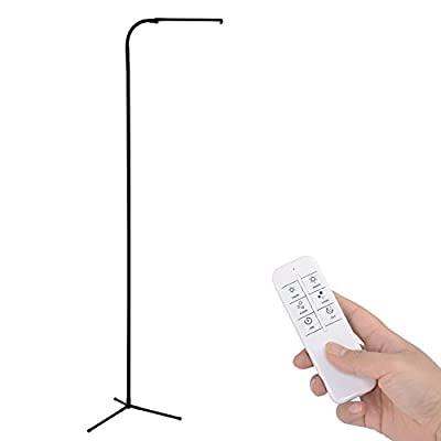 Kihung UY-F9 6 Feet Remote Control Dimmable LED Floor Lamp, 120 Level Adjustable, 3000-6000K, 6W 500 Lumens Ultrahigh Brightness, Black