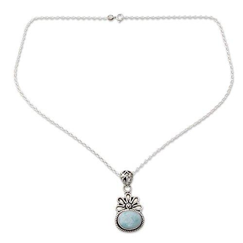 NOVICA Larimar .925 Sterling Silver Floral Pendant Necklace, 18