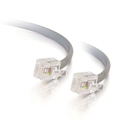 C2G/Cables To Go 09593 RJ11 6P4C Straight Modular Cable, Silver (50 Feet/15.24 Meters) from C2G